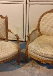 Bergère et fauteuils Epoque Louis XVI