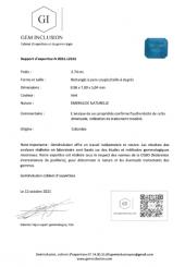 Emeraude taille facettée - Origine : Colombie - Poids environ 2.74 carats
