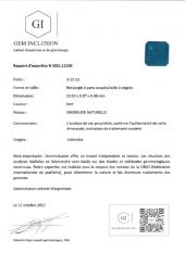 Emeraude taille carrée facettée - Origine : Colombie - Poids 4.52 carats