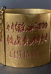 Line VAUTRIN (1913-1997) - Bracelet manchette en bronze doré